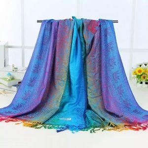 Rainbow pashmina soft shawl scarf elephant Indian